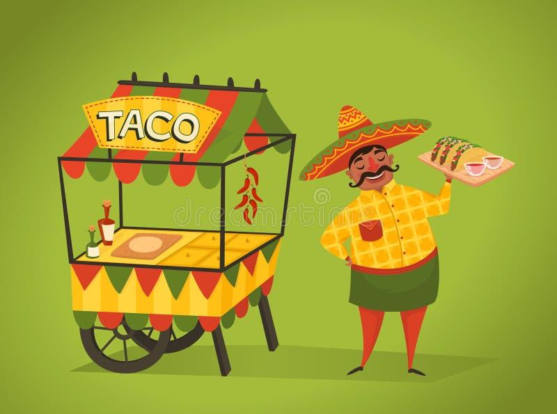 Владелец магазина продает тако на улице Мексиканская еда иллюстрация штока
