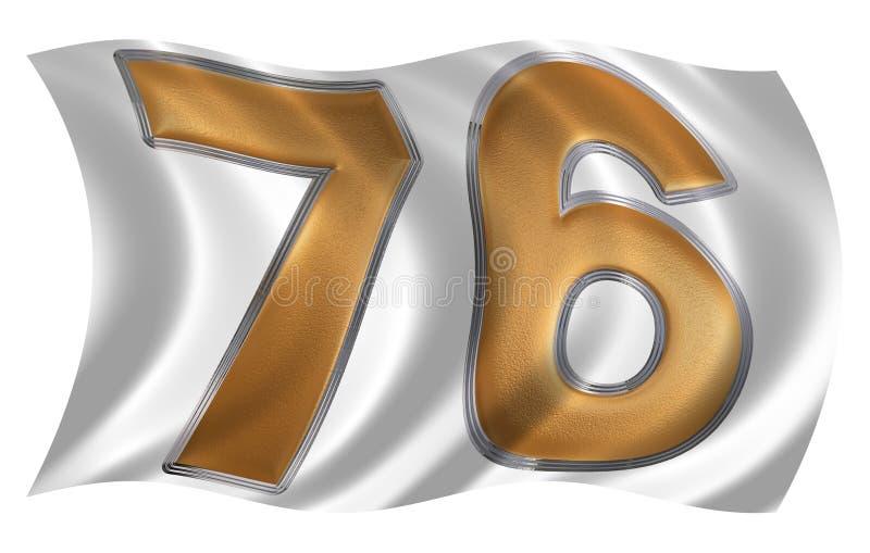В ветре порхая флаг с цифром 76, 76, иллюстрация вектора