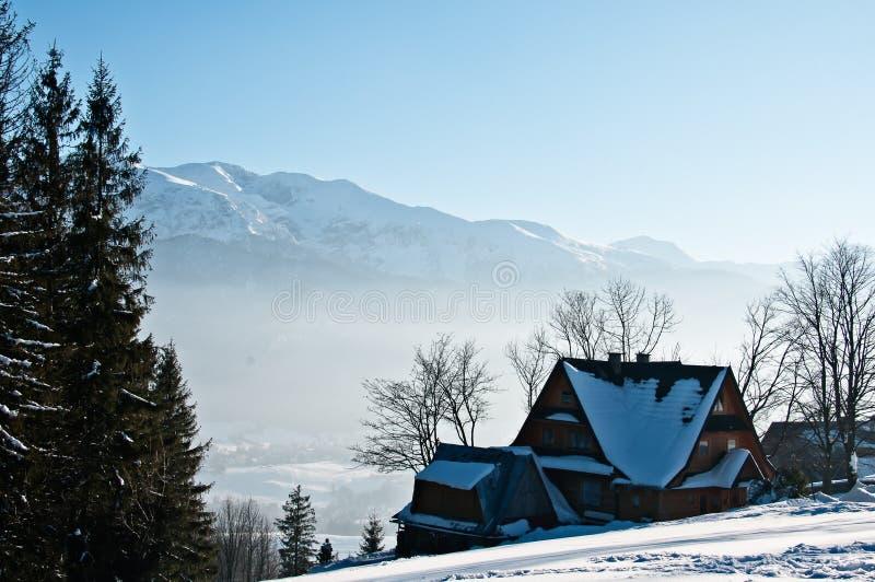 В горах, ландшафт зимы стоковое изображение