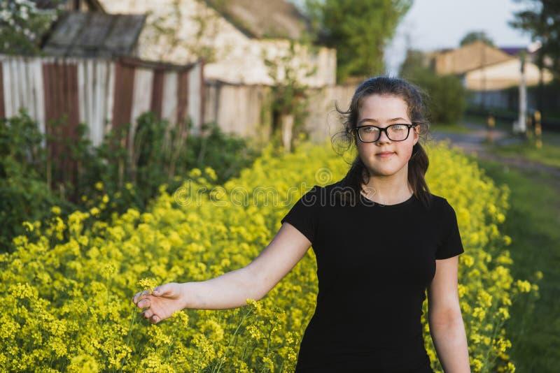 В желтых цветках стоковые изображения