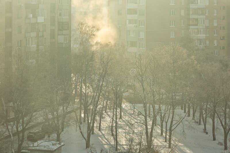 В зимнее время на свежем воздухе города, туманно и солнечно утро стоковые фото