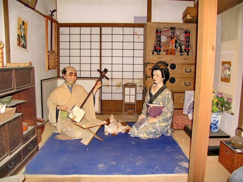 В исторической деревне самурая династии Эдо Здесь воссоздал японскую деревню средних возрастов Посещенное место стоковая фотография