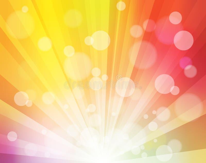 Влияние солнечности радуги с запачканными точками любит предпосылка для плакатов, представления bokeh яркая, видео, заголовки мес иллюстрация штока