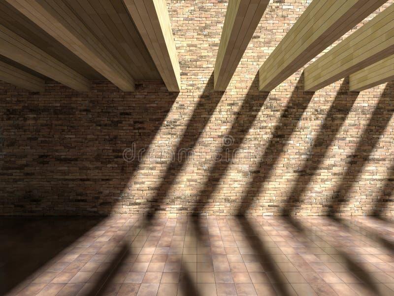 влияние тени 3D на стене & поле стоковая фотография rf