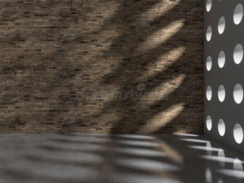 влияние тени 3D на стене & поле стоковые изображения