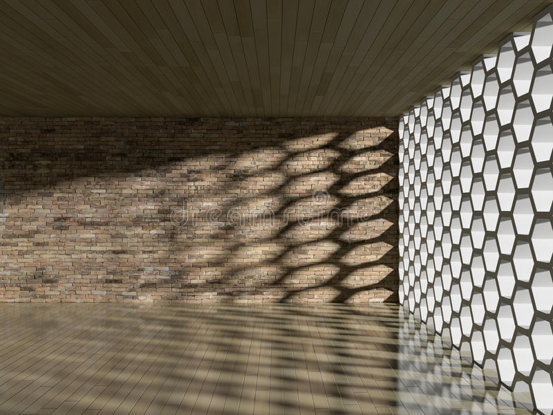 влияние тени 3D на стене & поле иллюстрация штока