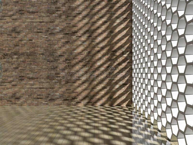 влияние тени 3D на стене & поле иллюстрация вектора