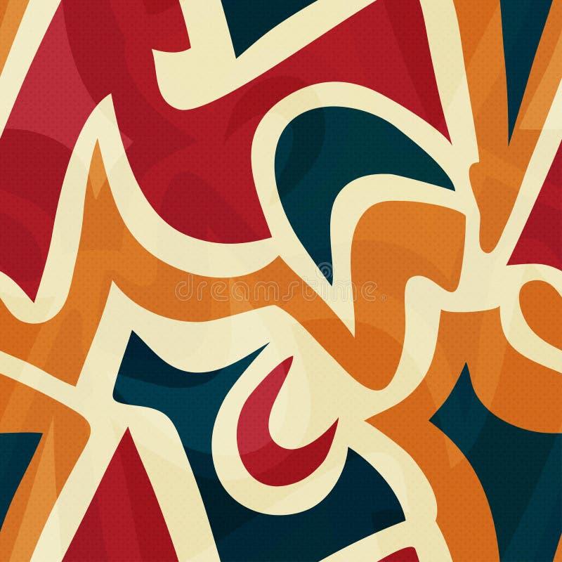 Влияние grunge картины ярких граффити геометрическое безшовное стоковые фотографии rf