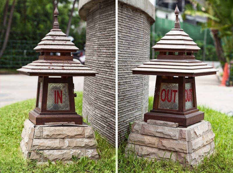 В и вне подписывает на азиатских деревянных фонариках в форме пагоды стоковые изображения rf