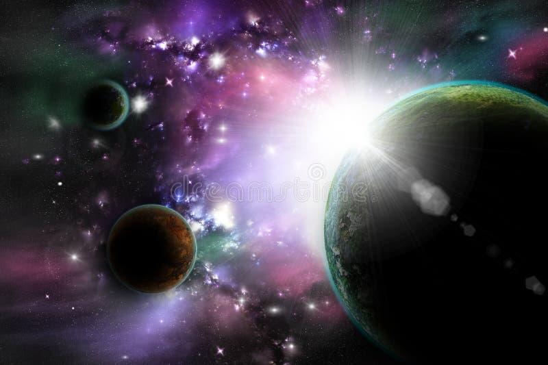 В космическом пространстве иллюстрация вектора