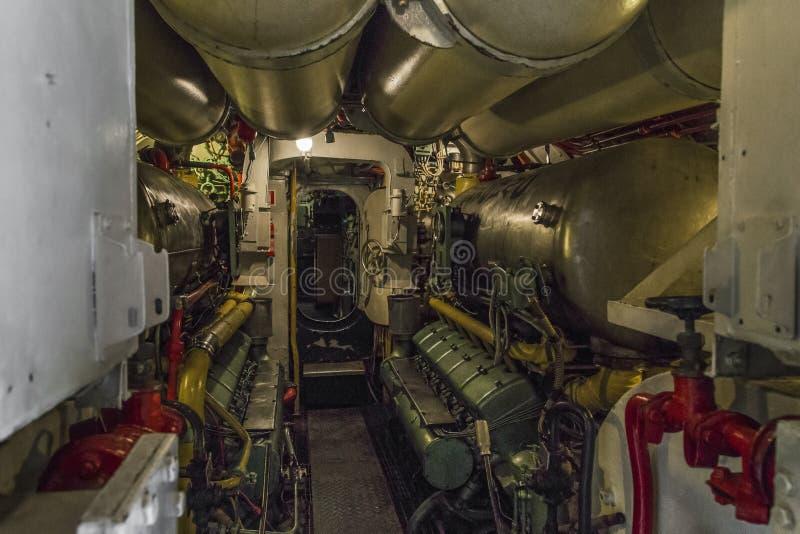 В машинном отсеке подводной лодки стоковое фото rf