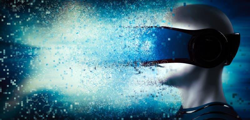 В мир виртуальной реальности Шлемофон изумлённого взгляда человека нося бесплатная иллюстрация