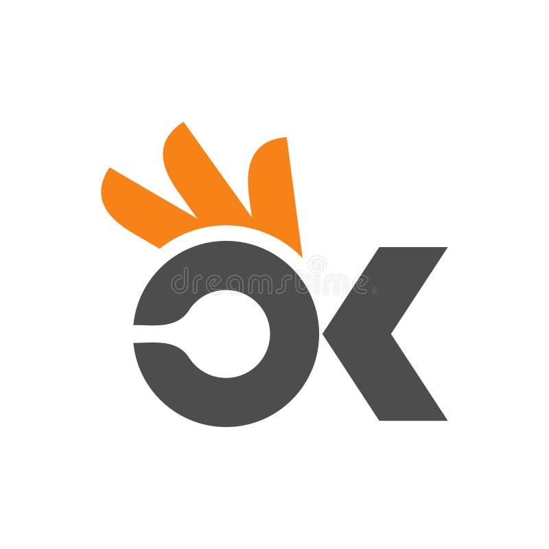 В ПОРЯДКЕ шаблон дизайна логотипа значка иллюстрация штока