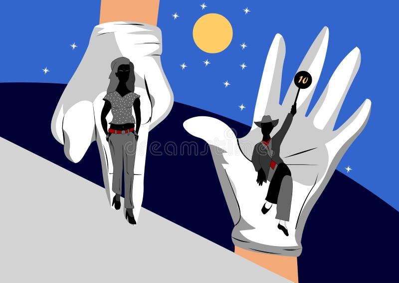 В руках покрашенных людей, выставк-мода продукции иллюстрация вектора