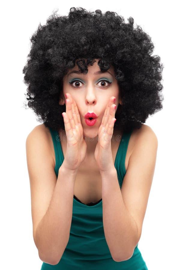 В стиле фанк женщина вызывая кто-то Стоковое фото RF