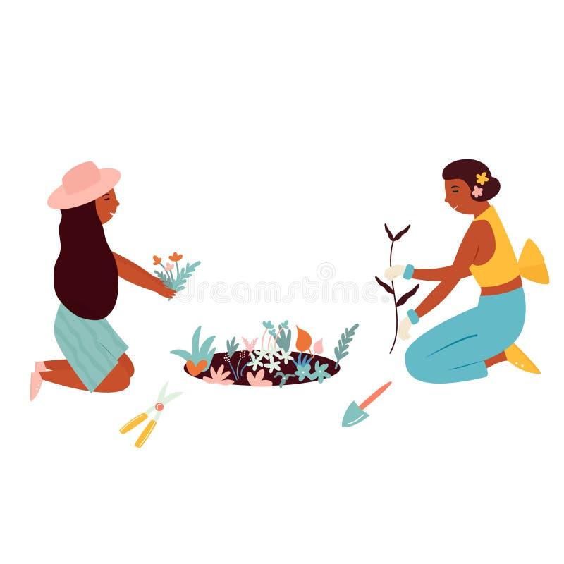 В стиле фанк плоская девушка засаживая цветки работая в саде иллюстрация штока