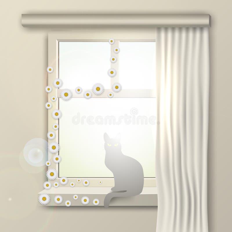В утре лета солнечном, кот сидит на окне с цветками бесплатная иллюстрация