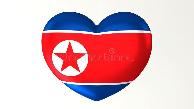 в форме Сердц Северная Корея влюбленности иллюстрации i флага 3D иллюстрация вектора
