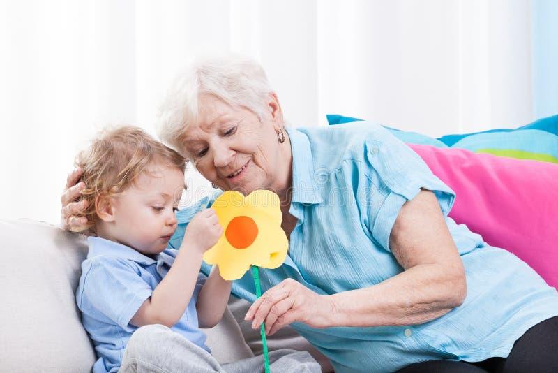Влюбленность бабушки стоковое фото rf
