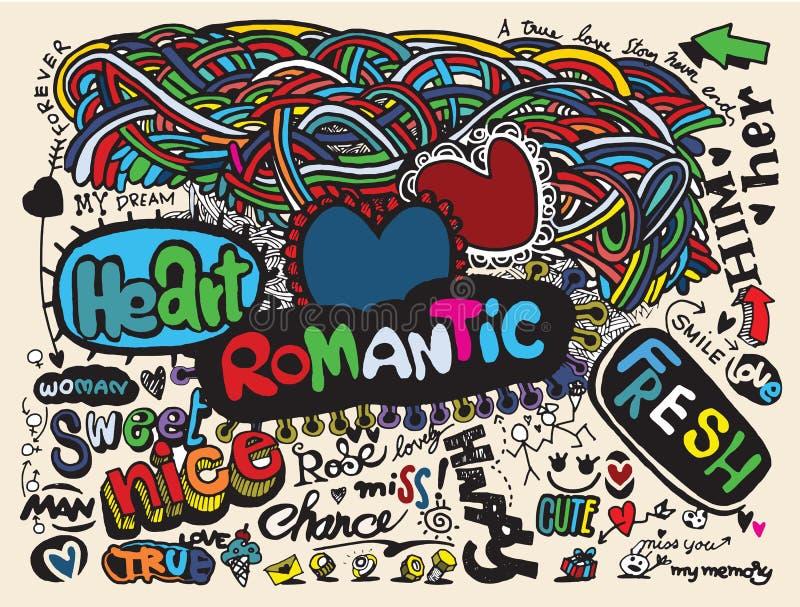 Влюбленность битника doodles предпосылка, рисуя стиль иллюстрация вектора