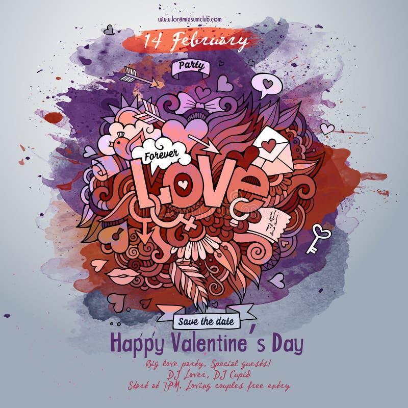 Влюбленность вектора doodles дизайн плаката акварели иллюстрация штока