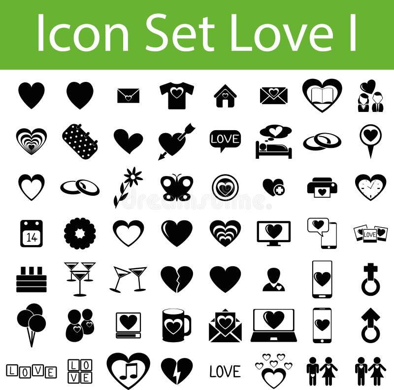 Влюбленность значка установленная иллюстрация вектора