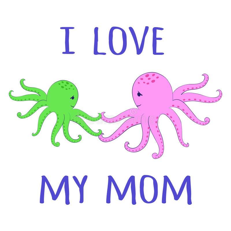 Влюбленность младенца осьминогов иллюстрация вектора
