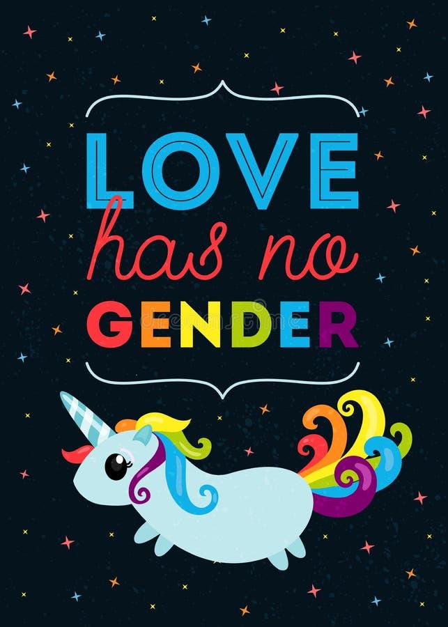 Влюбленность не имеет никакой род Плакат оформления LGBT с милой иллюстрацией единорога с радугой покрасил кабель и волосы бесплатная иллюстрация