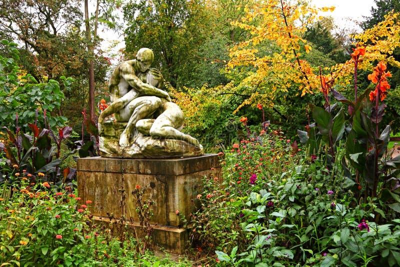 Влюбленность падения Волшебная осень в старом парке города стоковая фотография rf