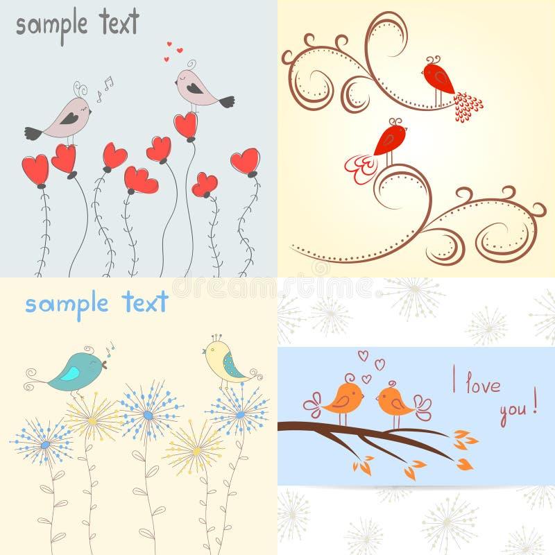 влюбленность птиц милая Комплект романтичных предпосылок иллюстрация вектора