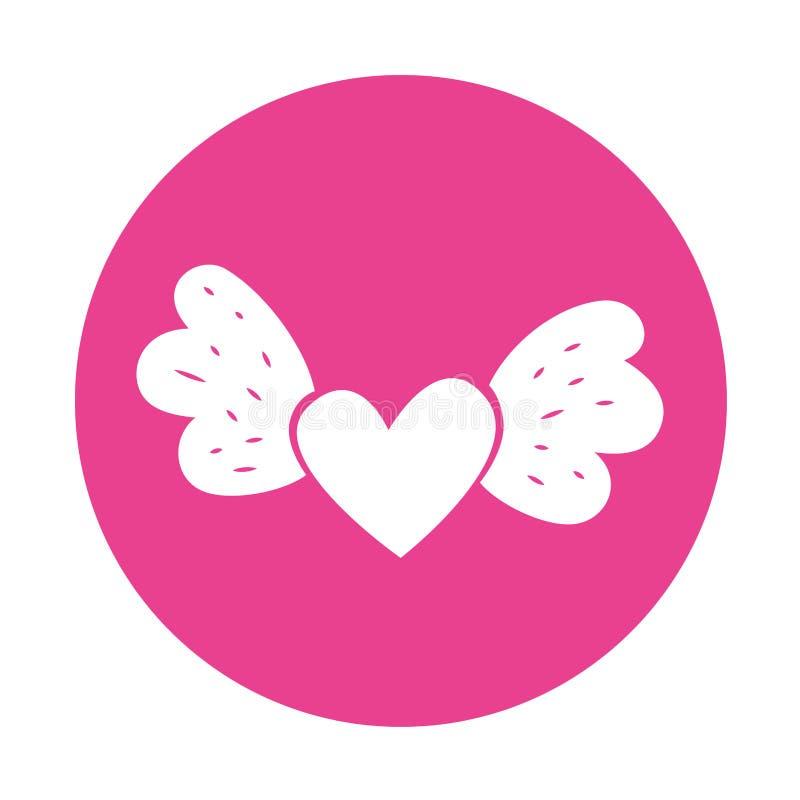 Влюбленность сердца с крылами бесплатная иллюстрация
