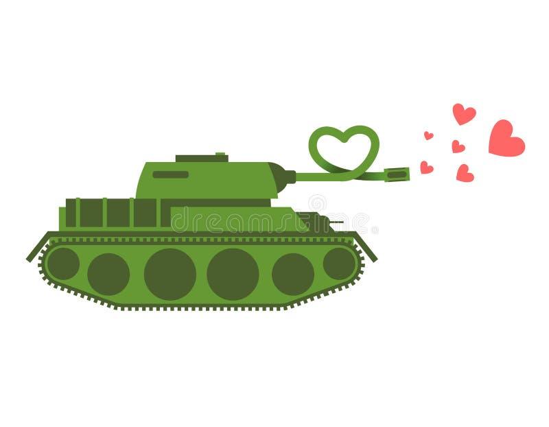 Влюбленность танка армии Зеленый цвет снимает воинские сердца машины Армия влюбленности иллюстрация штока