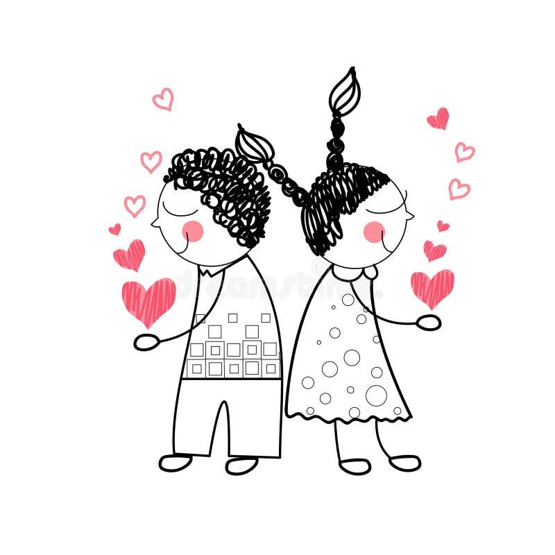Влюбленность формы сердца пар красная держа руки рисуя простую линию иллюстрация вектора