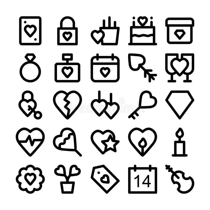 Влюбленность & Romance покрашенные значки 3 вектора иллюстрация вектора