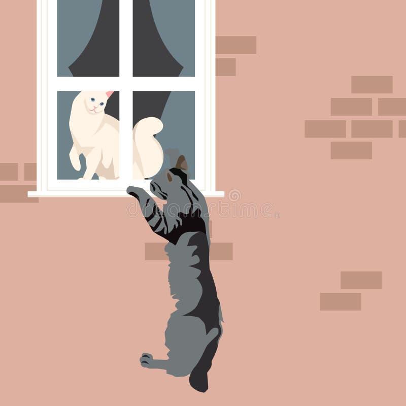 влюбленность s иллюстрации дня кота к вектору Валентайн иллюстрация вектора