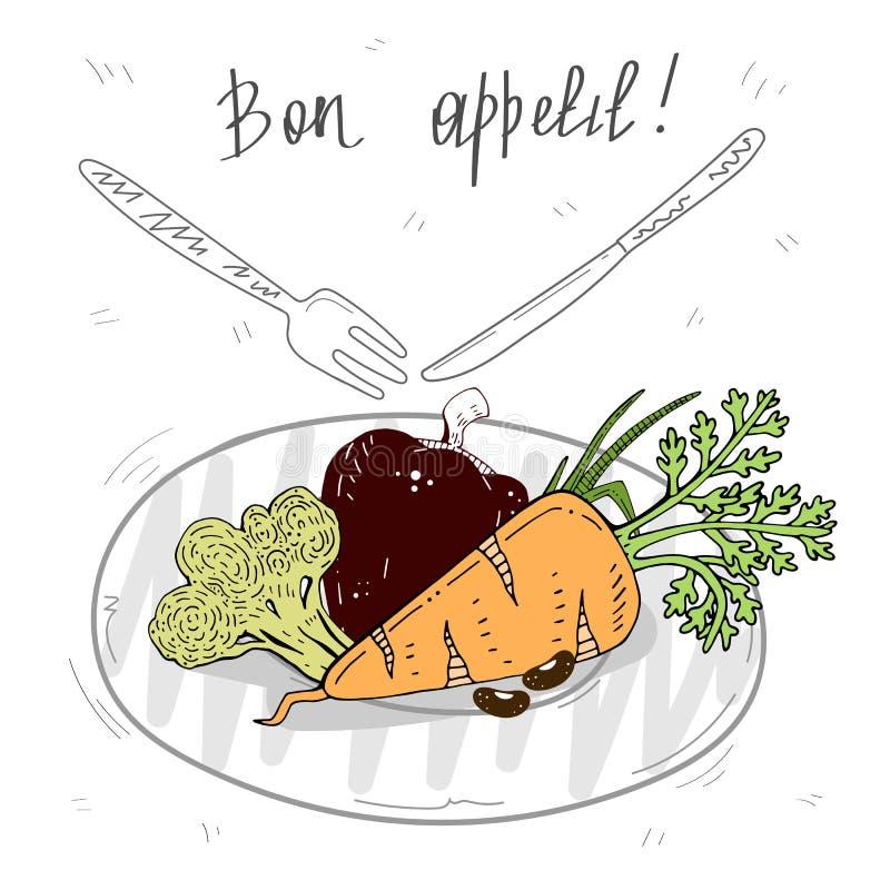 Ð'on appetite. cute set of vegetables on a plate. vector illustration. stock illustration
