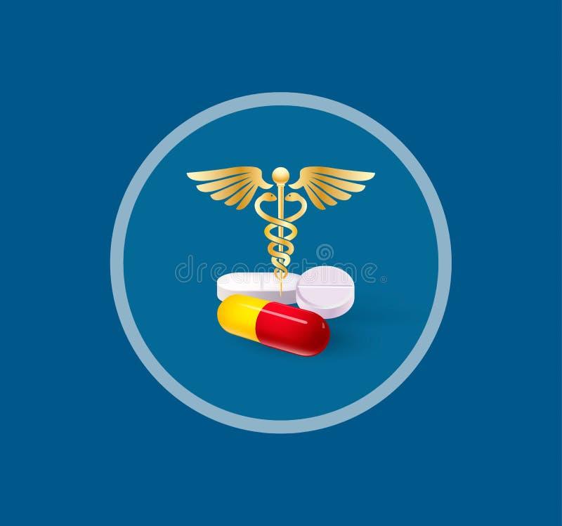 Габаритные таблетки и кадуцей стоковое фото rf