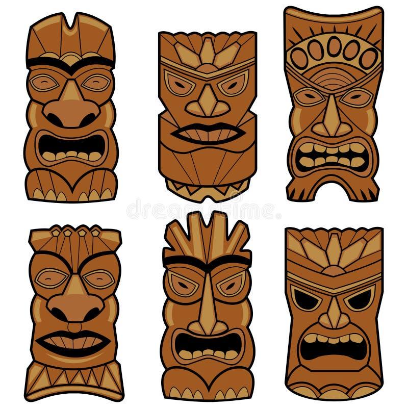 Гаваиские установленные маски статуи tiki иллюстрация вектора