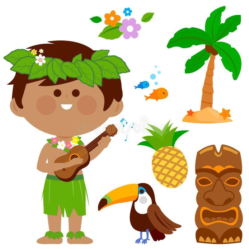 Гаваиский мальчик играя музыку с его гитарой Собрание Гаваи вектора иллюстрация штока
