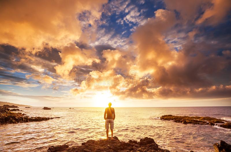 Гавайский заход солнца стоковое изображение rf