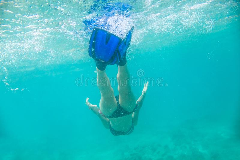 Гавайское женское подводное плавание стоковая фотография
