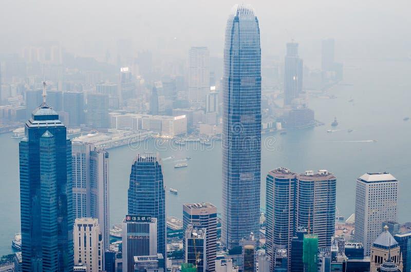 Гавань Виктории как осмотрел верхний пик Виктории, Гонконг стоковая фотография rf