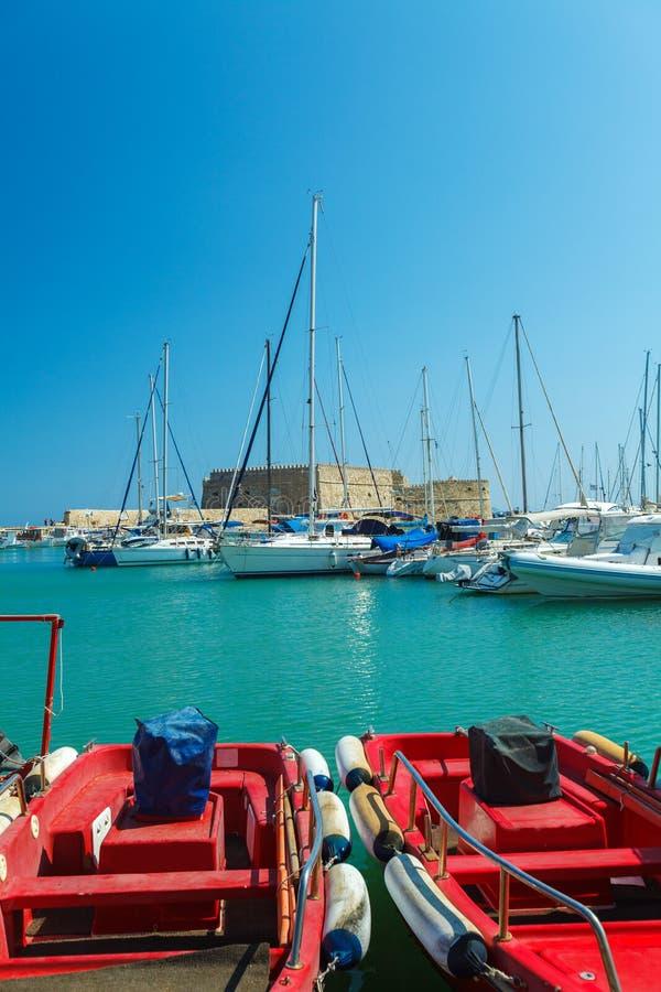 Гавань ираклиона и крепость, Крит стоковое изображение rf