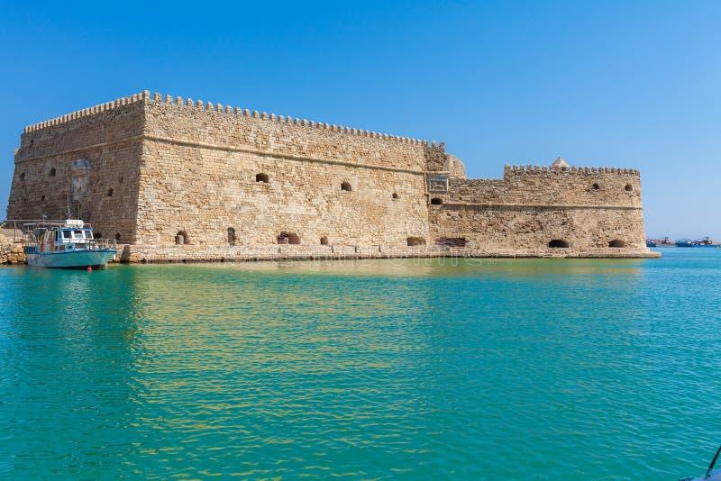 Гавань ираклиона и крепость, Крит стоковое фото