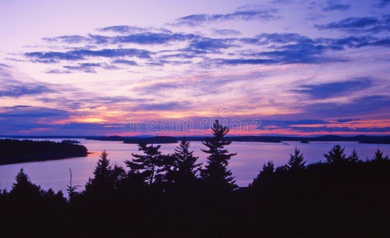 гавань Мейн над зимой захода солнца стоковое фото rf