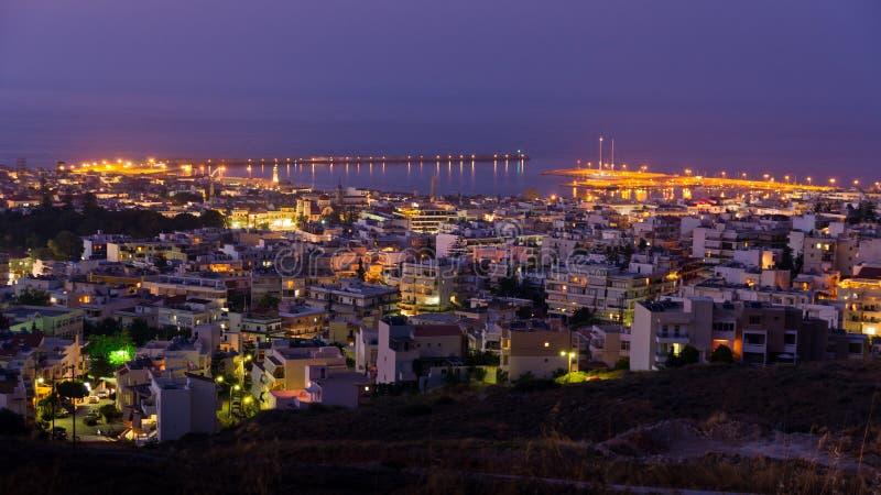 Гавань на сумерк, остров Rethymno Крита стоковое фото