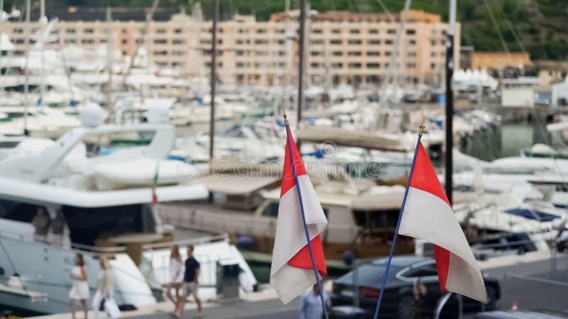 Гавань с причаленными частными яхтами, роскошное воссоздание Монако на дорогих сосудах стоковое изображение rf