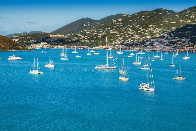 Гавань St. Thomas и карибский остров стоковые фотографии rf