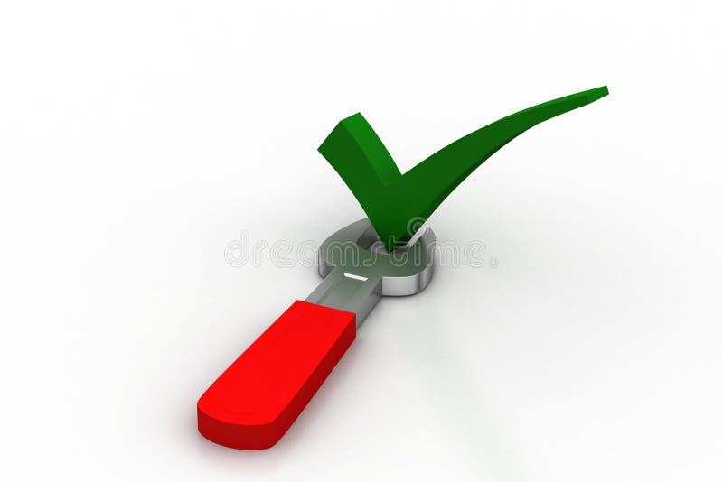 Гаечный ключ с контрольной пометкой иллюстрация вектора