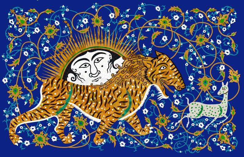 Газель конца тигра иллюстрация вектора